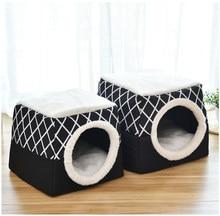 Gato macio caverna casa para gatos cães aconchegante cama de animal de estimação ninho canil dormir saco esteira almofada tenda animais de estimação inverno camas quentes 2 tamanho l xl 2 cores