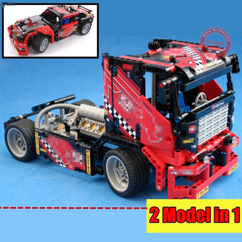 transformátorový vozík 2 - New 2 IN 1 Racing Truck Race Car Fit Legoings Technic City Car Truck Building Block Bricks DIY Toys Kid Gift Boys Birthday