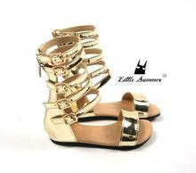 Littlesummer summer baby girls gladiator sandals shoes Children Roman shoes kids leather High top little girl fashion sandals