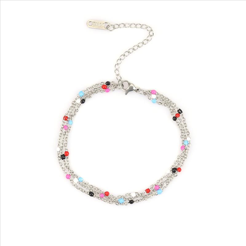 New Stainless Steel Bracelets Multicolor Enamel Multilayer Bracelet Jewelry For Women Men Gift 17.5cm Long, 1 Piece