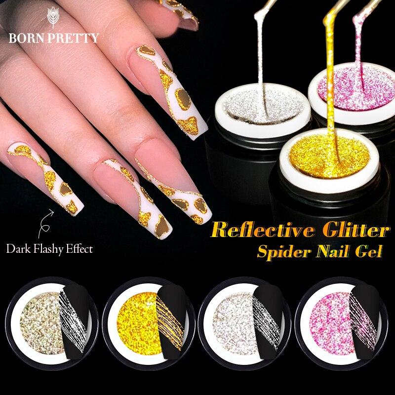 BORN PRETTY светоотражающий Блестящий паук гель для ногтей лак для ногтей блестящий эффект провод Рисование линий гель лак для ногтей