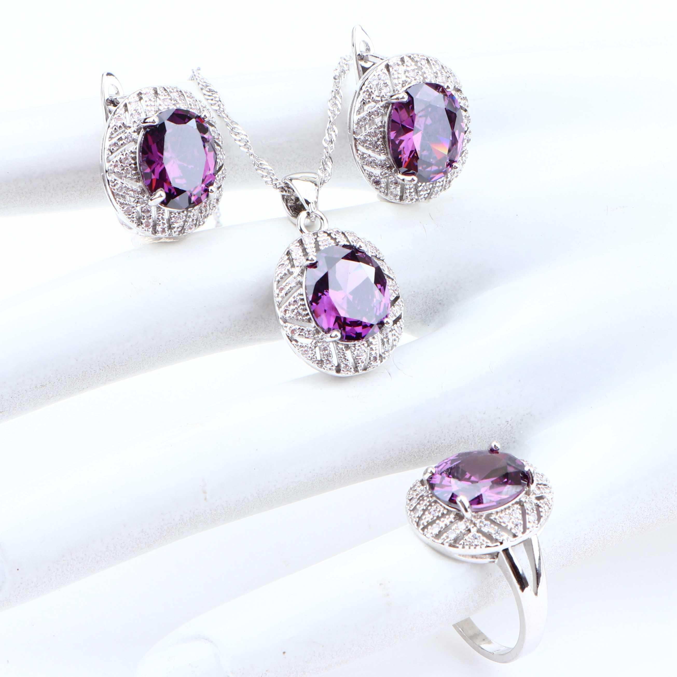 Mariage argent 925 ensembles de bijoux violet cubique zircone boucles d'oreilles pour les femmes mariée Cosutme bijoux collier anneaux ensemble cadeaux boîte