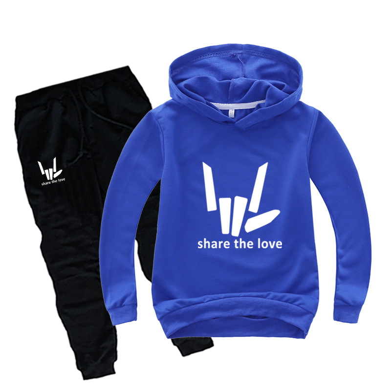 DLF 2-16Y 2020 Youtuber Share The Love Tracksuit Kids Graphic Hoodie Pants 2pcs Sets Baby Boys Clothing Set Toddler Girl Outfits