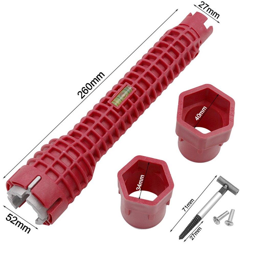 8 en 1 robinet et évier Installer outil de clé multifonctionnelle pour cuisine salle de bain tuyau deau Extra-longue conception clé outils 06