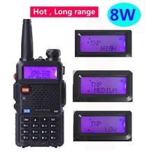 2020 radyo vhf uhf 136 174mhz 400 480mhz FM radyo istasyonu 15km 8w walkie telsiz uv5r baofeng uv 5r 8w çift bant radyo Cb