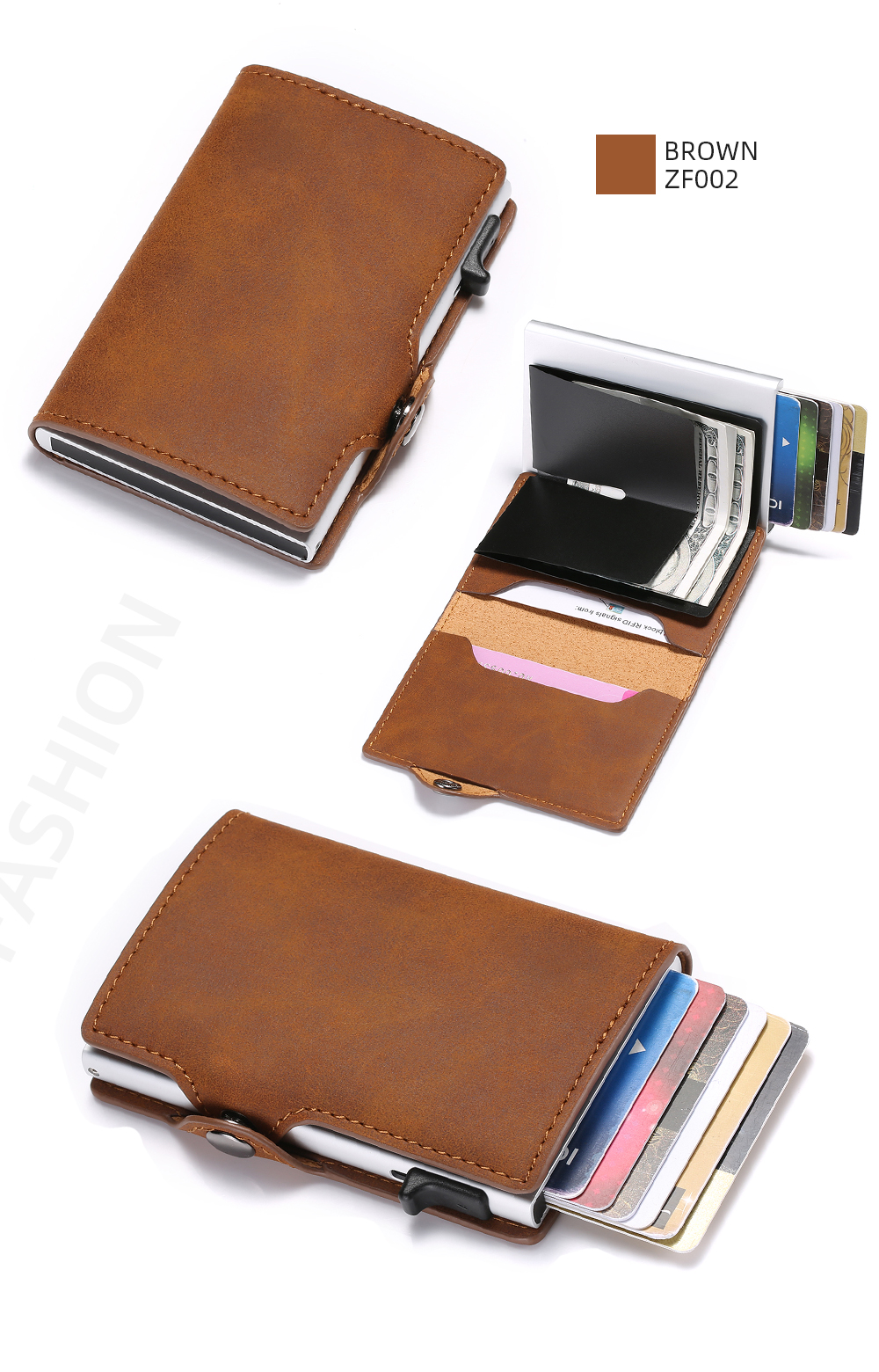 H98b6231bc7834872bc8b28d568947d69q - BISI GORO Single Box Card Holder PU Leather Card Wallet New Men RFID Blocking Aluminum Smart Multifunction Slim Wallet Card Case