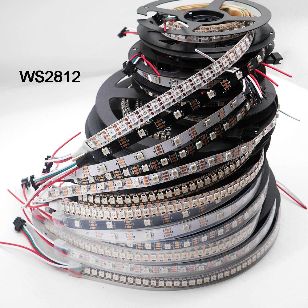 Умная Светодиодная лента WS2812B, 1 м/5 м, 30/60/144 пикселей/светодиодов/м, WS2812 IC, WS2812B/m, IP30/IP65/IP67, черный/белый PCB,DC5V