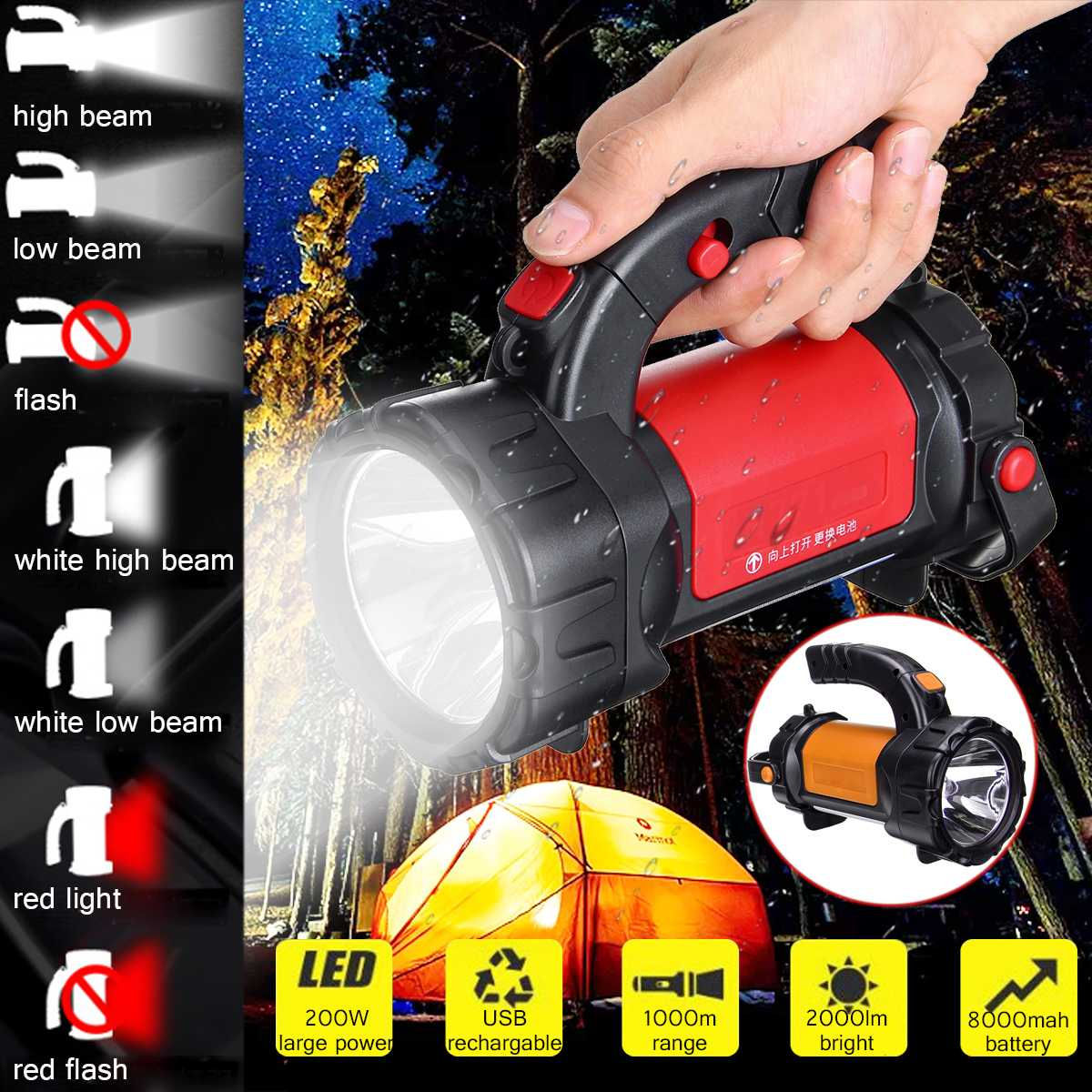 200W USB Charging LED Work Light Torch 8000mAh Battery Spotlight Hand Lamp Camping Lantern Searchlight for Hiking Hunting