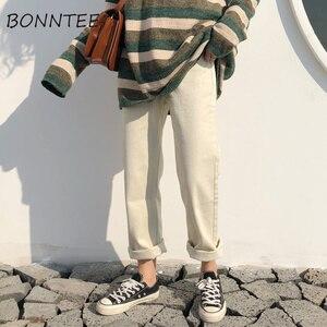Image 2 - Capris Women Casual jednolity, na zamek proste luźne spodnie damskie wszystkie mecze modne proste spodnie z wysokim stanem studenci w stylu koreańskim