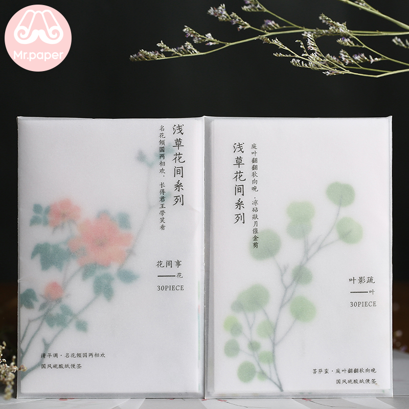 Mr Paper 30 Pcs Creative Chinoiserie Artsy Leaves Writing Note Plants Flowers Memo Pads Transparent Paper Loose Leaf Paper