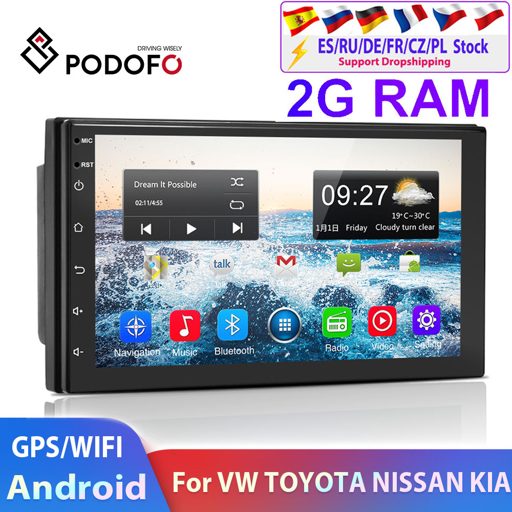 Podofo 2 Din Android Car Multimedia Player 2din Autoradio Navigation For Volkswagen Nissan Hyundai Kia Toyota Skoda Universal
