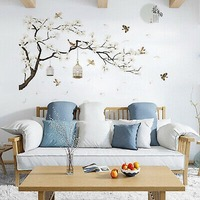 White Cherry Blossom Tree Branch Decals Mural Art Decoration Wall Sticker Vinyl Removable and Reusable for Home Hotel Cafe