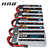 HRB batería Lipo 4S para coche de control remoto, batería recargable de 14,8 v, 5000mah, 6000mah, 4S, 2200mah, 3300mah, 4200amh, 12000mah, 22000mah