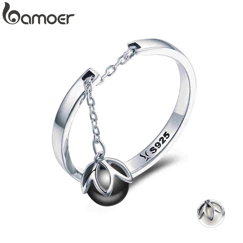 BAMOER Hot Sale Authentic 925 Sterling Silver Tears Of Flowers Dangle Open Finger Rings For Women Sterling Silver Jewelry SCR314