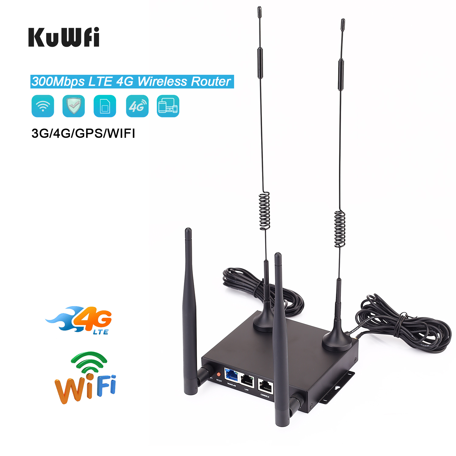 KuWfi Wireless 4G CPE Router CAT4 4G LTE CPE Unlocked 300Mbps Home Wifi Router With SIM Card Slot Up To 48Wifi Users,Easy Setup