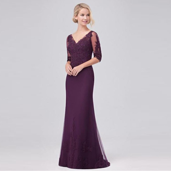 Elegant Purple Mermaid Tulle Applique Beaded V Neck Mother of the Bride Dresses Back Out Wedding Guest Gown Three Quarter Sleeve