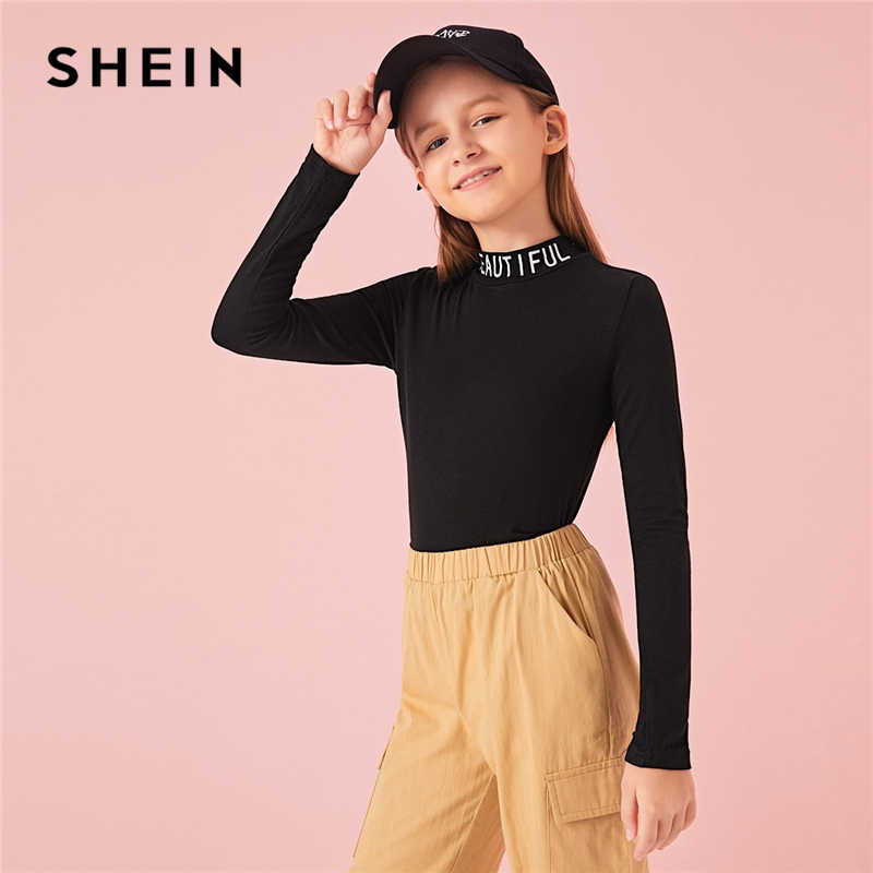 SHEIN Kiddie Stand Collar Letter Print Form Fitted Casual T-Shirt Kids Top 2019 Autumn Long Sleeve Skinny Children Tees
