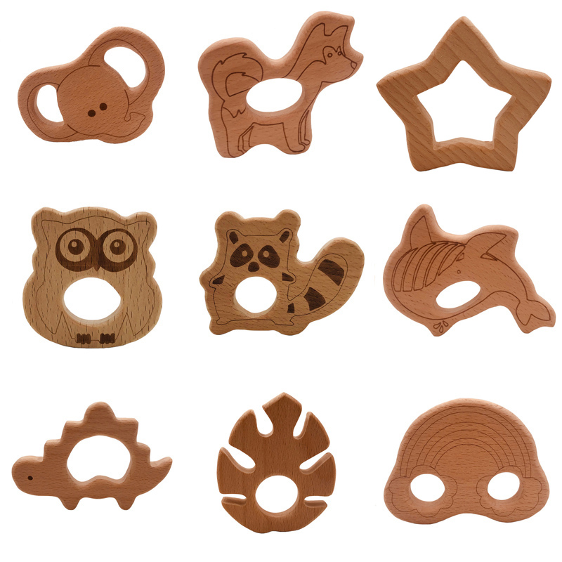 Hot Sales Baby Food Grade Wooden Teether Cartoon Animal Dog Elephant Shape Baby Nursing Teethers Safe Newborn Teething Toys Gift
