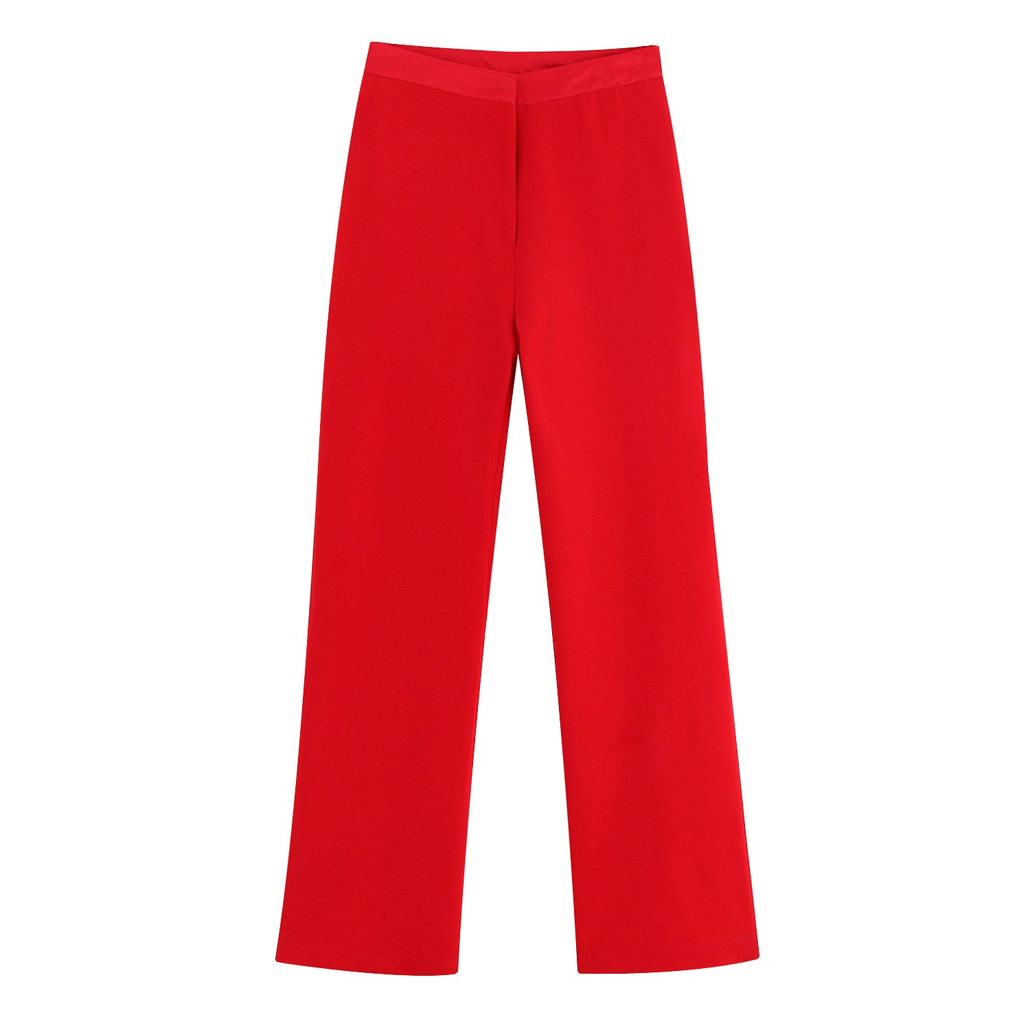 Women Red High Waist Ankle-Length   Pants   Elegant Loose Zipper   Wide     Leg     Pants   Office Casual Trousers