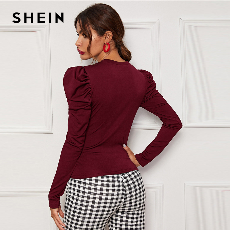 SHEIN Solid Round Neck Slim Fitted Elegant T-Shirt Women Tees 2019 Autumn Puff Sleeve Office Ladies Basic Skinny T-shirts 2