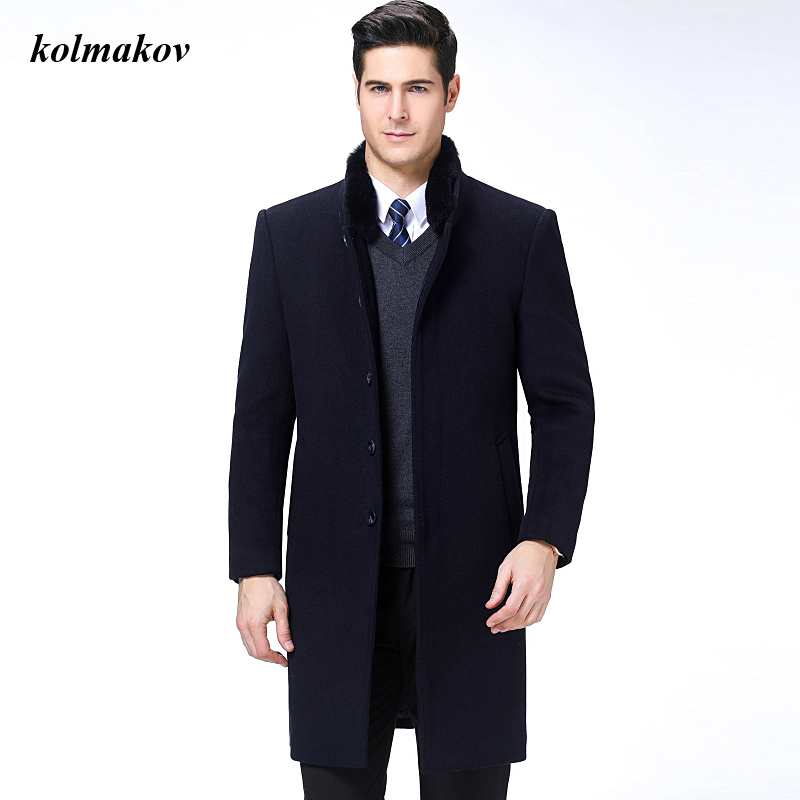 New Arrival Winter Style Men Boutique Woolen Coat High Quality Solid Detachable Fur Collar Wool Men's Long Trench Coat M-3XL