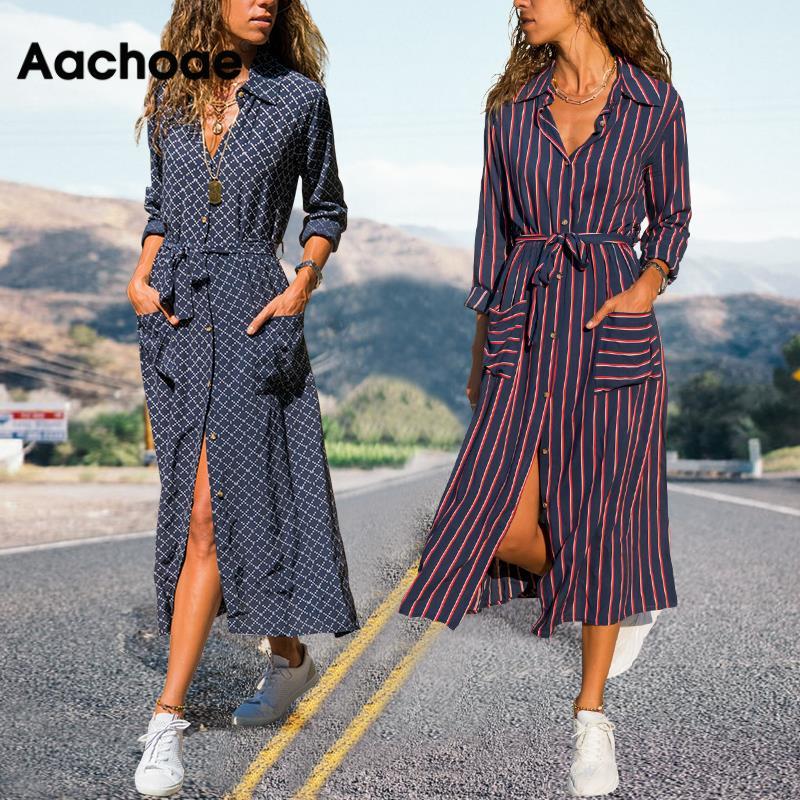 Aachoae 2020 New Striped Lady Shirt Dress Long Sleeve Turn Down Collar Casual Dresses Pockets Bandage Elegant Midi Dress Robe