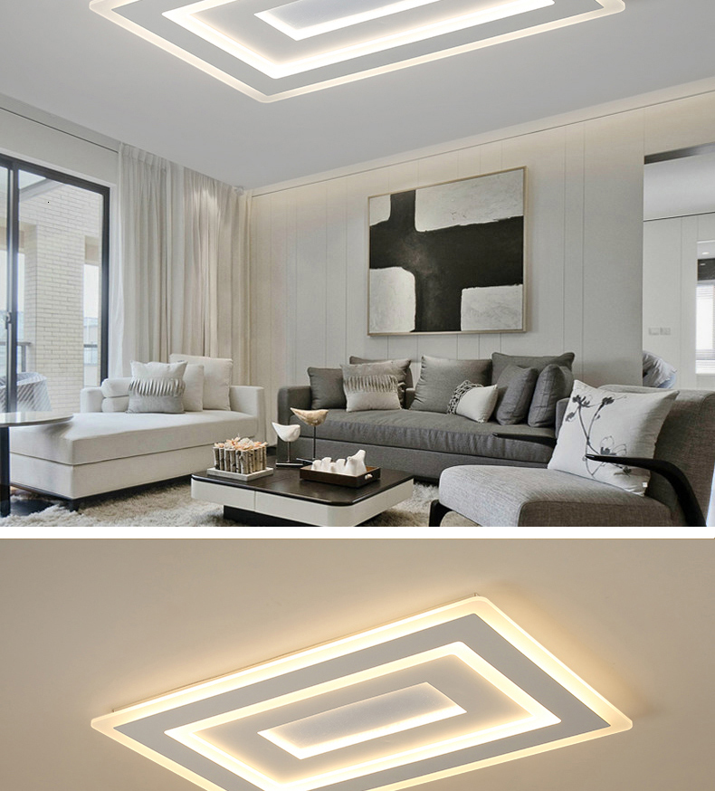 H98b6f68675284a3b8740eec2f9dd45d8O Surface Mounted Modern Led Ceiling Lights for living room bedroom Ultra-thin lamparas de techo Rectangle Ceiling lamp fixtures