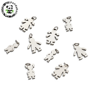 304 Stainless Steel Figure Pendants Boy Girl for Jewelry Making DIY Golden Stainless Steel color 18x14x2mm, Hole: 3mm,20pcs/lot