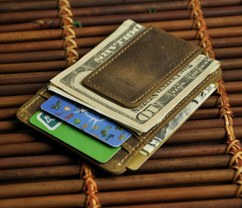 Vintage Genuine Leather Money Clip Front Pocket Clamp For  Holders Magnet Magic  Clips Wallet With Card ID Case