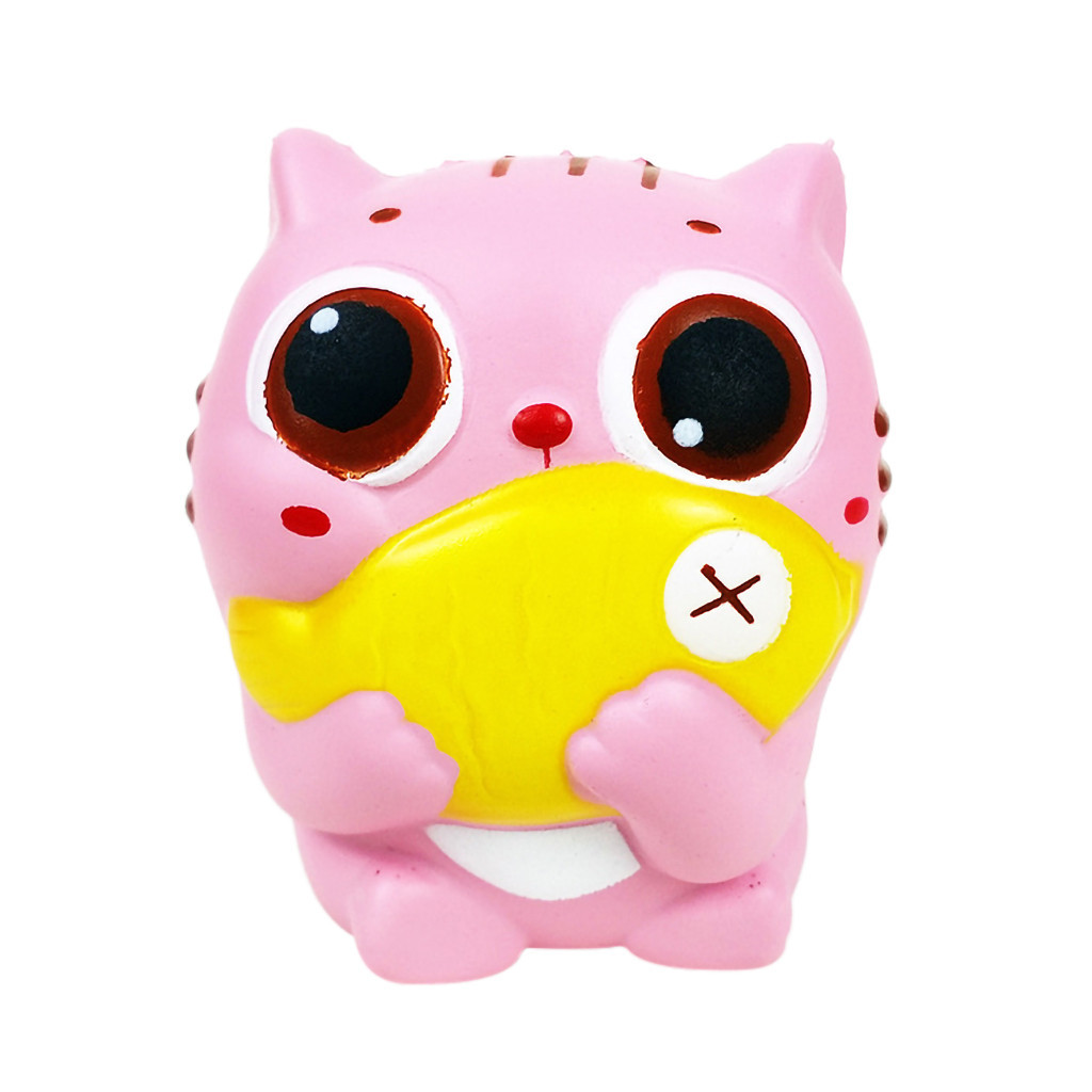 Adorable Cat Slow Rising Squeeze Stress Reliever Toys Gift Cartoon Decoration Doll Stretchy Healing Toys For Children #B