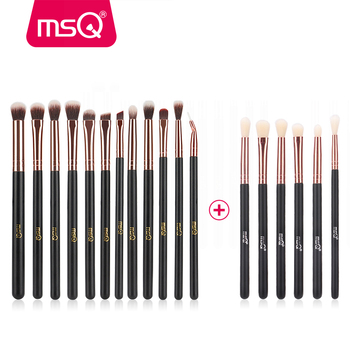 MSQ 6+12 18pcs Eye Makeup Brushes Set Professional Eyeshadow Blending Make Up Brushes Soft Synthetic Hair With PU Leather Case msq 9pcs eye makeup brushes set synthetic hair professional eyeshadow cosmetics high quality make up brushes beauty tools pink