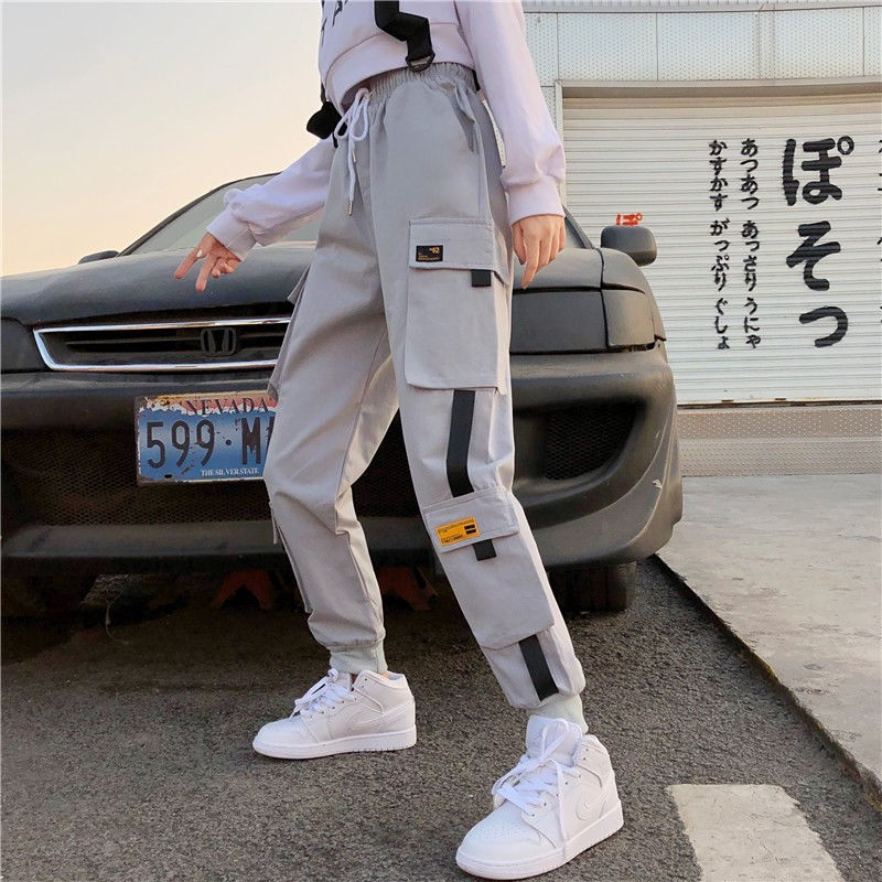 Fashion Women's Elastic Waist Cargo Pants Ladies Casual Loose Ankle-length Streetwear Trousers Plus Size Female Jogger Pants