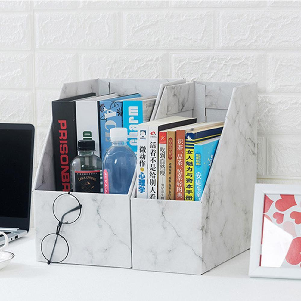 DIY Kraft Paper Bookend Book Holder Book File Bookends Holder Bookshelf Stationery Book Stand School Office Organizer