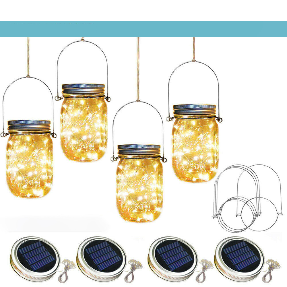 ZANCAKA Led Solar Jar Light Mason Jar Lids Glass Jar Lights Multi Coloured Solar Fairy Lights Outdoor Lighting Garden LED Decor