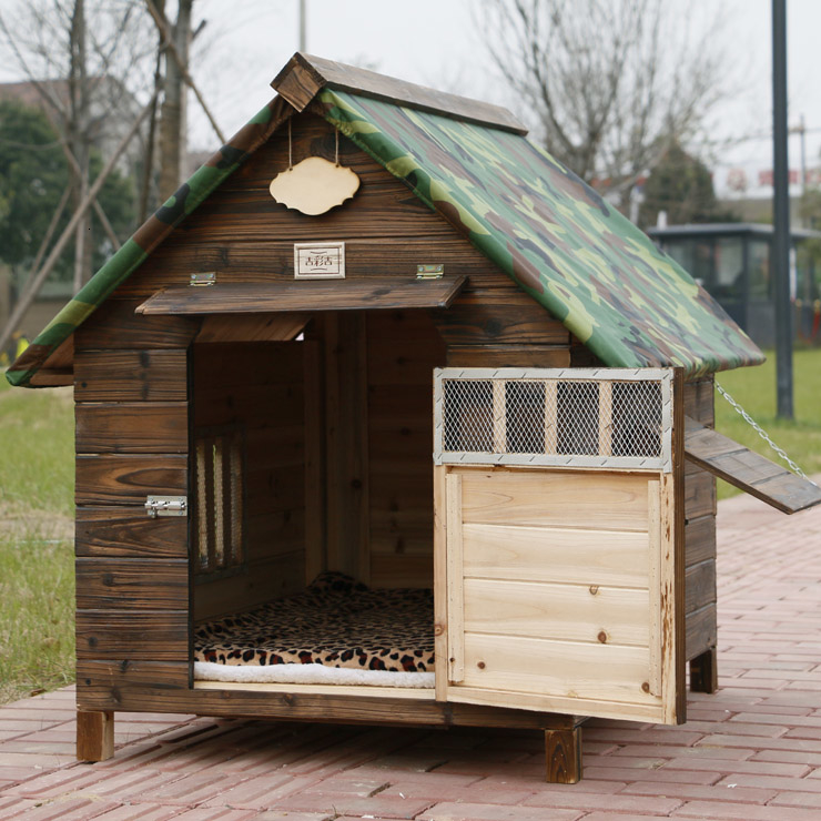 Outdoors Solid Wood Carbonization <font><b>Wooden</b></font> <font><b>Kennel</b></font> Cat's Nest, <font><b>Dog's</b></font> Cage, Teddy The <font><b>Dog</b></font> House Pets Nest image
