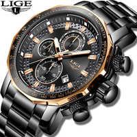 Reloj Masculino LIGE, nuevo cronógrafo deportivo para hombre, reloj de cuarzo de lujo de marca superior, reloj de cuarzo de acero resistente al agua, reloj de gran esfera para hombre