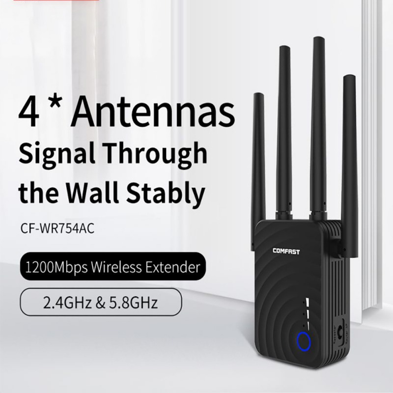 Universal WiFi Range Extender Dual-Band 1200m Wireless Repeater 5.8g with Four-Antenna Wifi Signal Boosters Amplifier