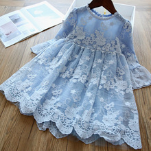 2020 Children Clothing Girls short-sleeve  Lace Princess Dress Red Show Dress Embroidery Floral Blue Knee-Length Long sleeve floral nine points sleeve hollow lace dress