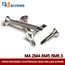 410 M4.2M4.8M5.5M6.3 Stainless Steel Phillips Flat Cross recessed countersunk Head Drill Tail Screw DIN 7504