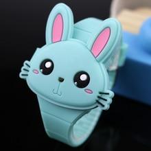 2020 Lovely Rabbit Cartoon Children Watches Safe material Flip Cover Rubber Electronic Kids Watch for Boy Student Girls Clock