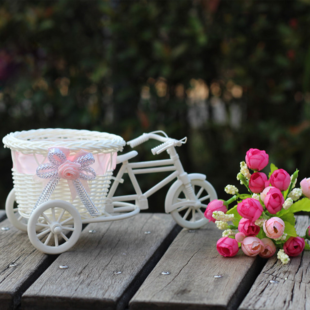 Pot-Stand-Holder Vase Organize-Basket Storage-Container Bike Rattan Flower-Design Home-Decor title=
