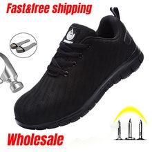 LARNMERN acier orteil chaussures de sécurité pour hommes respirant léger résistant à la perforation bottes de travail antidérapant chaussures de travail réfléchissantes