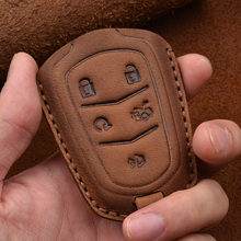 Handmade Leather Car Key fob Case Cover Bag Shell Suitable For Cadillac ATS XTS XT5 XT4 CT6 XT6 Car styling Accessories