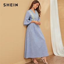 SHEIN Blue V คอลายปัก Elegant Maxi ชุดผู้หญิง 2019 ฤดูใบไม้ร่วง Flounce Sleeve สุภาพสตรี Ruffle Line Flared Dresses