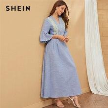 SHEIN ブルー V ネックストライプ刺繍エレガントなマキシドレス女性 2019 秋フラウンス袖レディースフリル A ラインフレアドレス