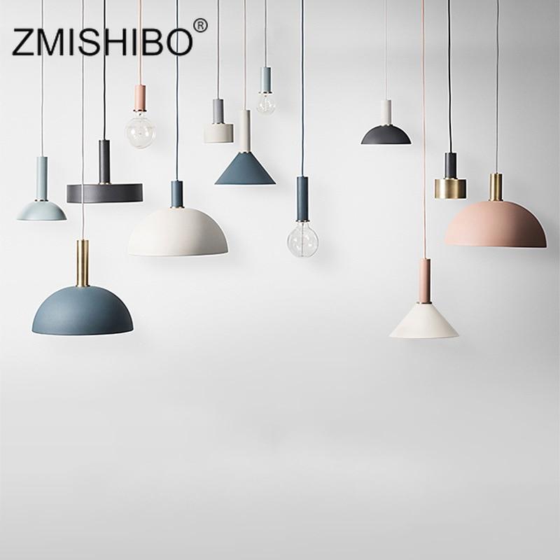 ZMISHIBO Nordic Simple Restaurant Bar Hanging Lamp Iron Pendant Lamp Nordic Droplights Creative Bedside Light Pendant Light