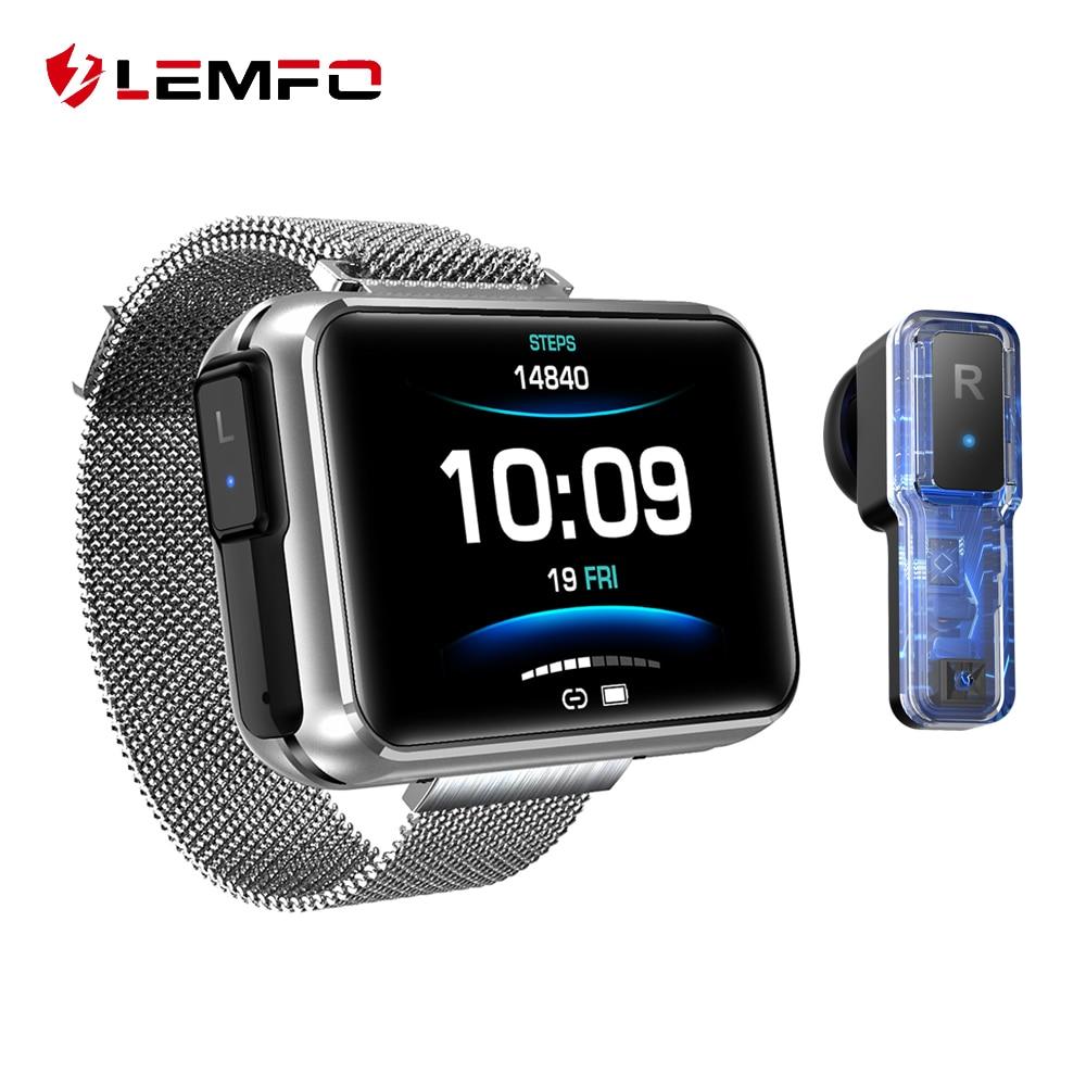 LEMFO T91 Smart Watch Men TWS Wireless Bluetooth Headset  2020 1 4 Inch Big DIY Screen Bluetooth Call Weather Smartwatch