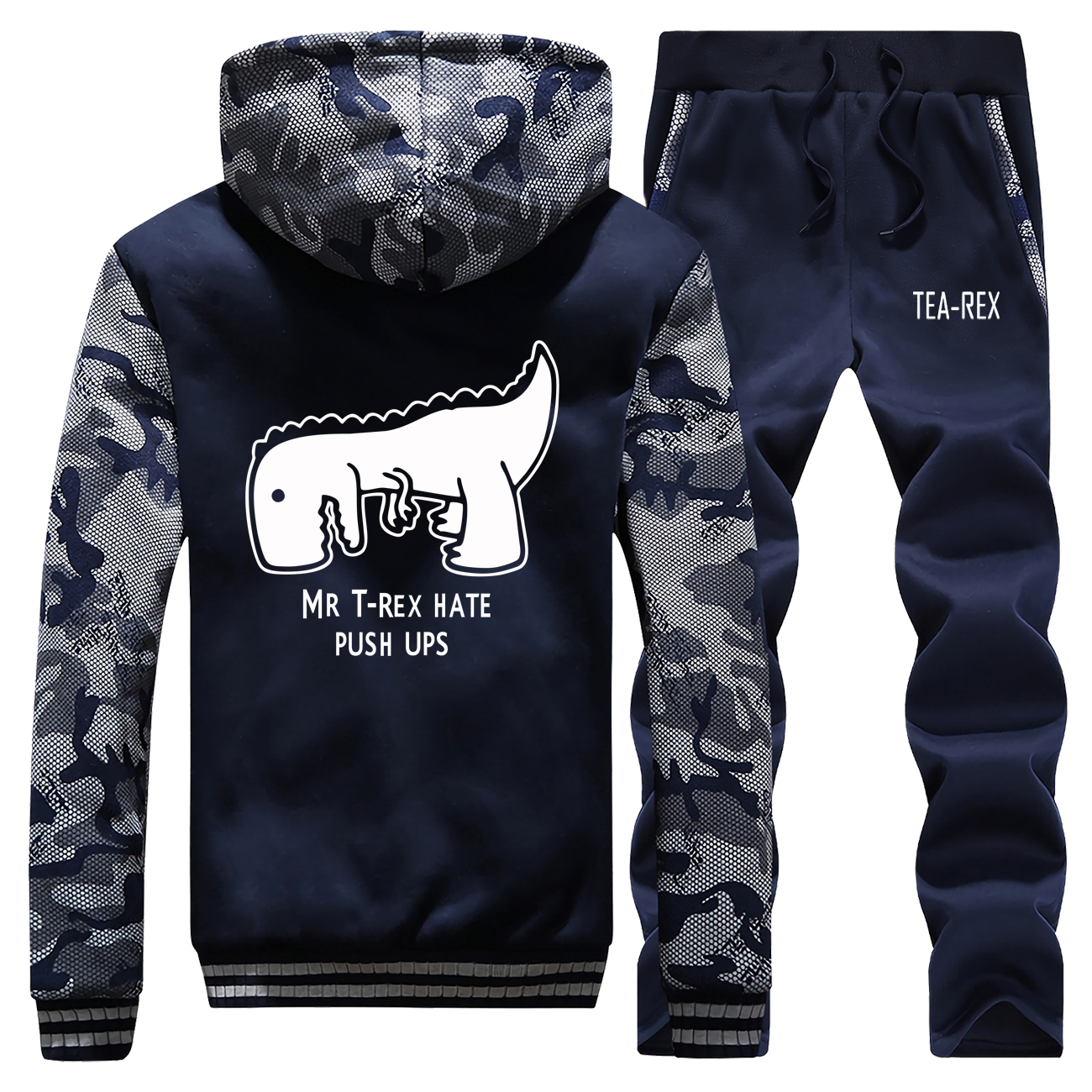 Mr T-rex Hate Push Ups Winter Jacket+Pants 2 Piece Sets Men Thick Fleece Hoodies Funny Print Camo Sweatshirt Casual Men Warm Set