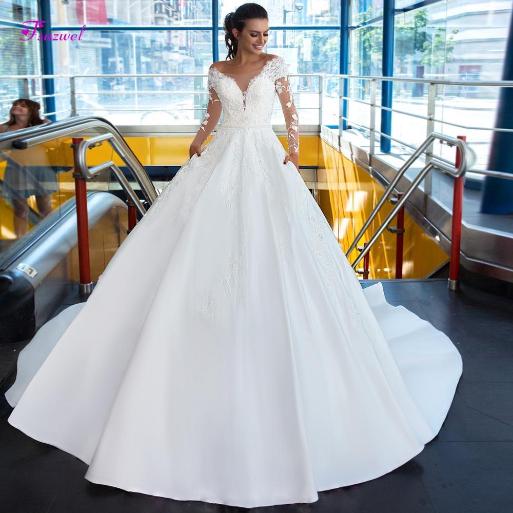 Fsuzwel Elegant Scoop Neck Appliques Long Sleeve A-Line Wedding Dresses 2019 Luxury Sashes Beaded Vintage Bridal Gown Plus Size