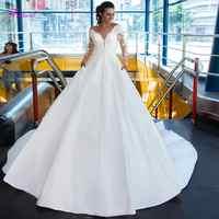 Fsuzwel Elegante Scoop Neck Appliques Lange Hülse A-linie Brautkleider 2019 Luxus Schärpen Perlen Vintage Brautkleid Plus Größe